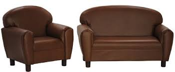 amazon com max comfort premier kids chair and sofa set brown faux