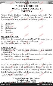 Resume Sample Librarian by Teaching Staff And Librarian Jobs In Wapda Cadet College 2017 Jobs