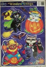 vintage halloween window clings bats cat clown bear pumpkins