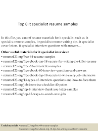 Marketing Specialist Resume Sample by Top8itspecialistresumesamples 150425023613 Conversion Gate02 Thumbnail 4 Jpg Cb U003d1429947418