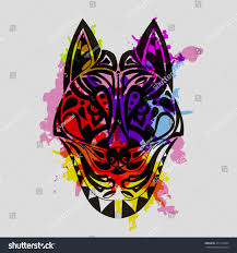 vintage vector wolf tribal stock vector 471973325