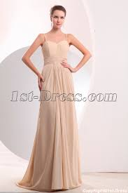 pretty champagne chiffon slit long prom dress with train 1st dress com