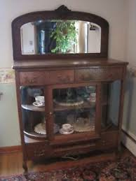 curved glass china cabinet antique tiger oak sideboard buffet w rare curved glass china cabinet