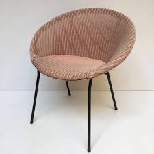 pink lusty lloyd loom vintage wicker chair 1950s chaise lusty