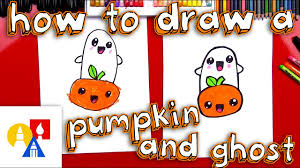 how to draw a cartoon pumpkin and ghost youtube