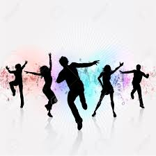 silhouettes of people dancing on a music notes background stock