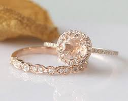 gold and morganite ring 2pcs 7mm morganite ring set 14k gold engagement ring