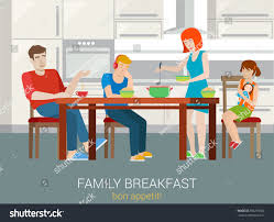 Bon Appetit Kitchen Collection Flat Style Family Breakfast Concept Parents Stock Vector 309259562
