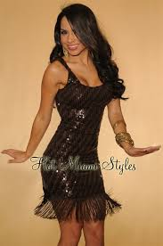 chocolate all over sequin fringe accent dress