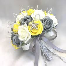 wedding flowers ebay brides posy bouquet yellow ivory grey roses artificial wedding