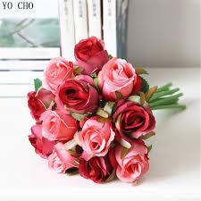 cheap roses wholesale cheap artificial bridal wedding bouquet purple