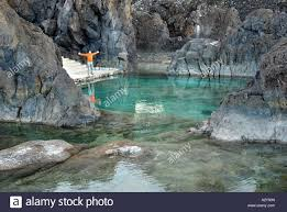 natural swimming pools porto moniz madeira island portugal stock
