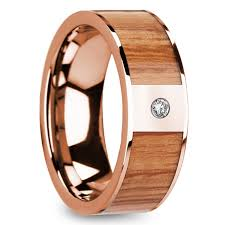 diamond wood rings images Red oak wood inlay men 39 s wedding band in rose gold with diamond accent jpg