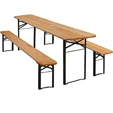 german beer garden table and bench wooden outdoor party table set 2x benches w parasol hole german