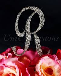 rhinestone cake toppers unik occasions sparkling collection rhinestone monogram