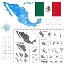 map of mexico regions represents a general outline of a states