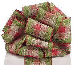 100 green plaid ribbon