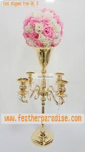 gold silver 5 arms candelabra floral riser wedding centerpieces