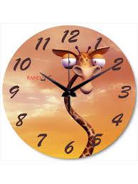buy online designer random cartoon giraffe analog wall clock rc