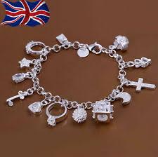 charm bracelet chain silver images Silver charm bracelet chain ebay jpg