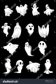 white and black halloween background white halloween ghosts poltergeist on black stock vector 220587292