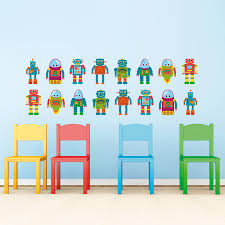 small robot kids wall stickers mirrorin notonthehighstreet small robot kids wall stickers