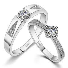 wedding rings his and hers matching sets cubic zirconia wedding bands set with customized engraving