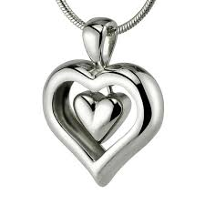 cremation jewlery eternity heart cremation ashes necklace with rhodium finish