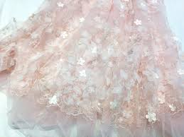 Wedding Dress Fabric 3d Lace Fabric In Blush Ivory With Applique Flower For Wedding