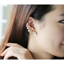 earring cuff flower shape rhinestone right ear cuff clip golden earring stud