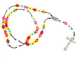 your own rosary multi coloured acrylic on cord