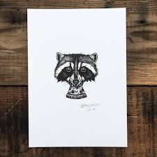 38 pizza raccoon signed print steel bison