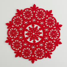 red felt snowflake placemats set of 4 red felt felting and