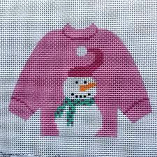 snowman pink sweater ornament nimbleneedlenj