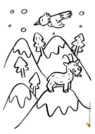 Dessin à colorier dune montagne sous la neige