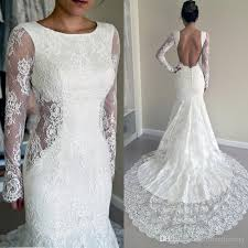Long Sleeve Lace Wedding Dress Open Back 2016 Trumpet Wedding Dresses Crew Neckline Mermaid Open Back