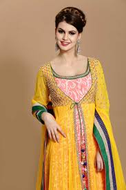 design of jacket suit peach with yellow polyester long anarkali churidar suit with kameez
