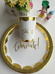 celebration plates 8 pcs set gold foil paper plates cups for wedding family