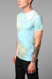 World Map T Shirt by Altru Around The World Tee In Blue For Men Lyst