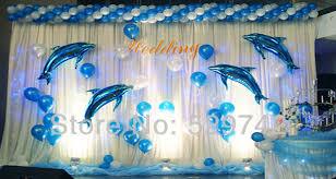 the sea decorations wholesale dolphin the sea shape mylar foil balloon
