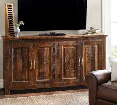 Media Console With Hutch Bowry Reclaimed Wood Media Console Pottery Barn