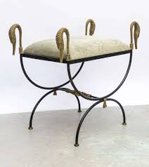 pair of neoclassical iron and bronze swan benches for sale at 1stdibs