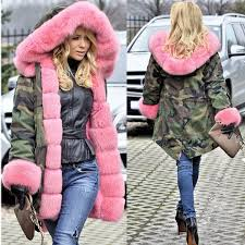 roiii rose pink quilted padded faux fur hooded warm thick womens