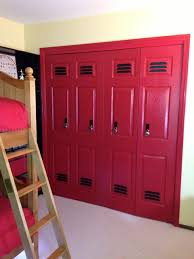 kids sport lockers closets made to look like lockers great sports themed room idea