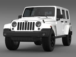 white jeep sahara 2 door 3d model jeep wrangler black edition 2 2015 cgtrader