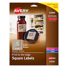 avery print to the edge square labels kraft brown 2