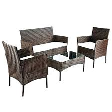 Homebase Patio Broyerk 4 Piece Outdoor Rattan Patio Furniture Set Rattan