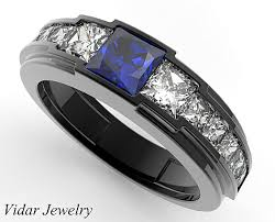 mens blue wedding bands black gold blue sapphire wedding ring for a men vidar jewelry