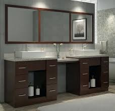 bathroom vanity with makeup area for or 96 inch walnut finish