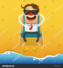 Beach Armchair Businessman Relaxing On Blue Beach Armchair Stock Vector 454263940